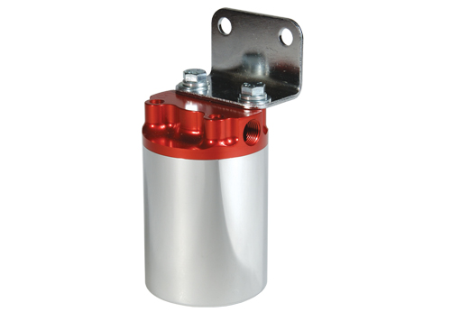 100 Micron, Red/Polished Canister Fuel Filter
