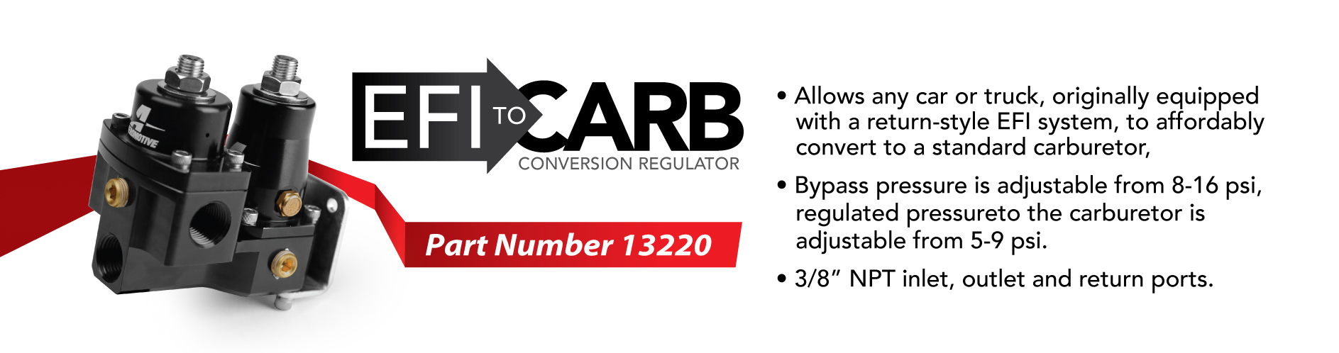 Aeromotive 13220 Regulator EFI to Carburetor