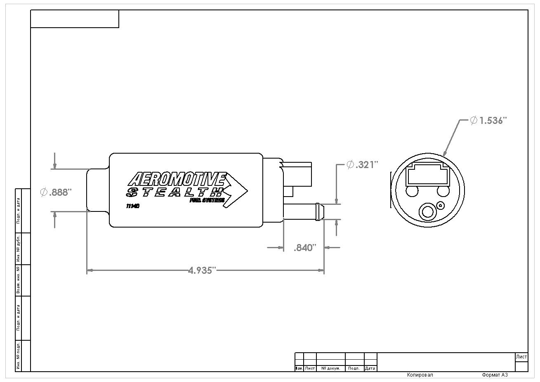 Aeromotive 11540 Kraftstoffpumpe 340 Series Stealth In-Tank, Center Inlet